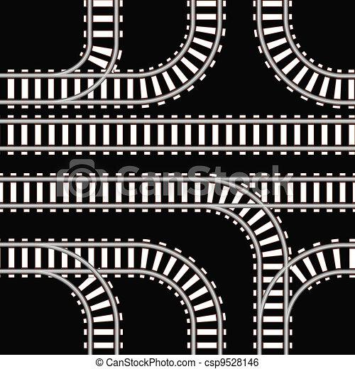Seamless Background Of Railway Tracks On Black