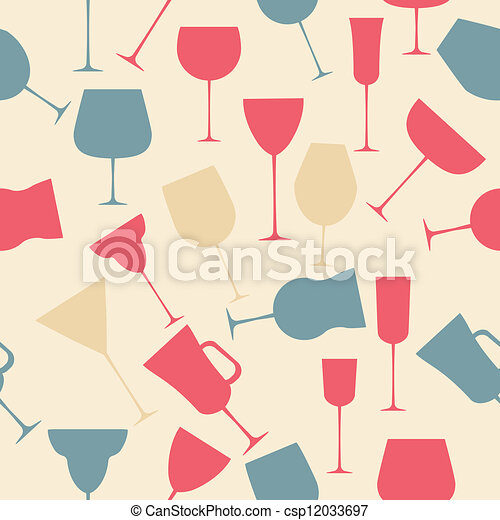 Seamless background pattern of black alcoholic glass. - csp12033697
