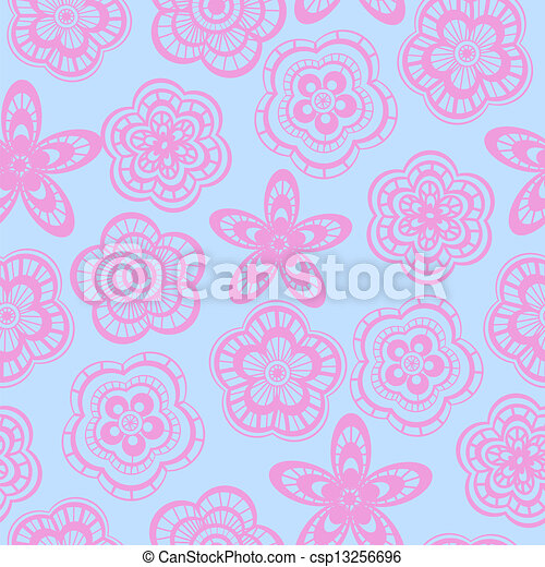 Seamless background pattern of pink lace flowers - csp13256696