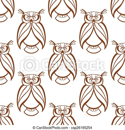 Seamless background pattern with brown owls - csp26165254