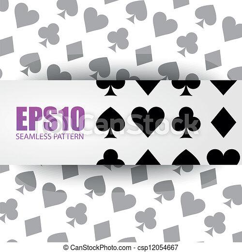 Seamless background playing card symbols. - csp12054667