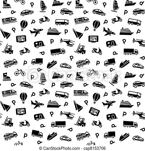 Seamless background, transport icons, wallpaper - csp8153706