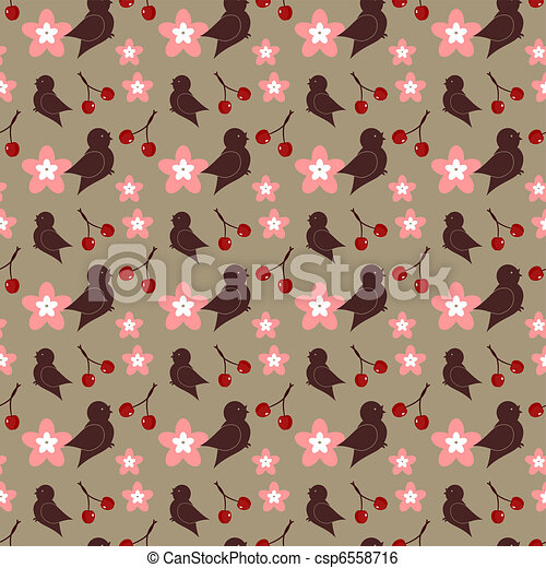 seamless background with birds - csp6558716