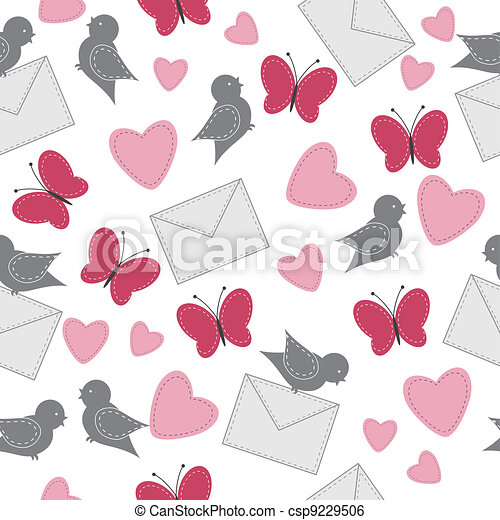 Seamless background with birds - csp9229506
