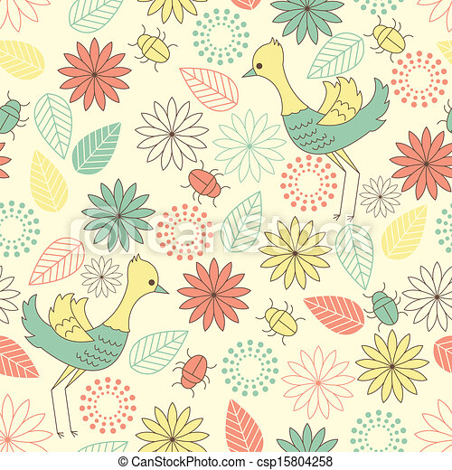 seamless background with birds - csp15804258