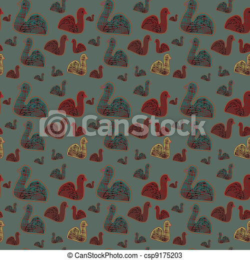 Seamless background with birds - csp9175203