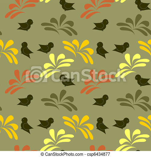seamless background with birds - csp6434877
