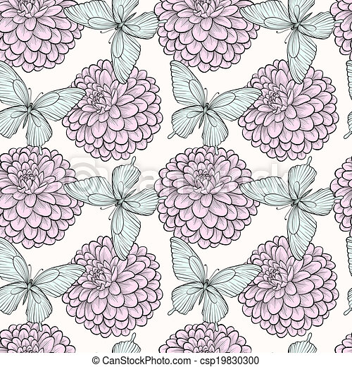 seamless background with butterflies and dahlias - csp19830300