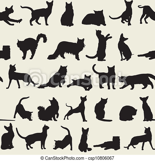 seamless background with cats - csp10806067