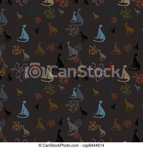 Seamless background with cats - csp8444614
