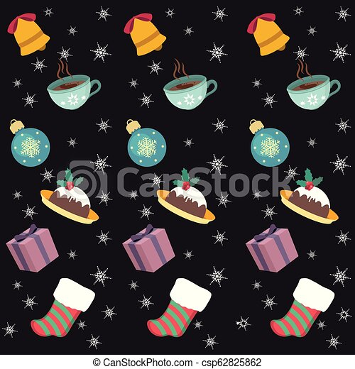 Seamless background with Christmas objects and foods - csp62825862