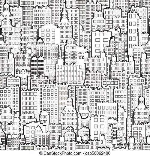 Seamless Background With City Building Monochrome - csp50062400
