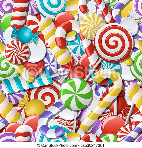 Seamless background with colorful candies.  - csp30247361