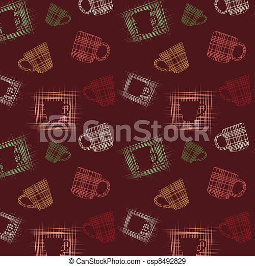 Seamless background with cups - csp8492829