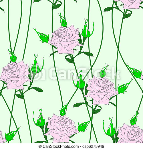Seamless  background with flower roses. - csp6275949