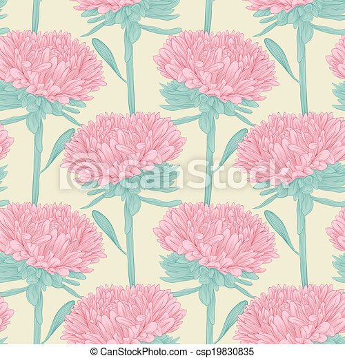 seamless background with flowers aster. - csp19830835