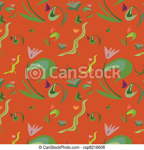 Seamless background with flowers - csp8216608