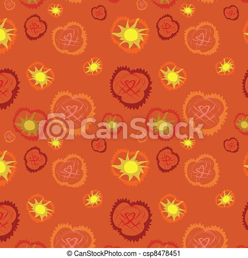 Seamless background with hearts and - csp8478451