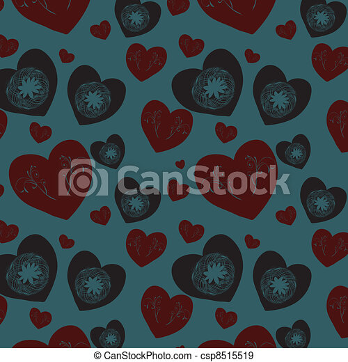 Seamless background with hearts - csp8515519