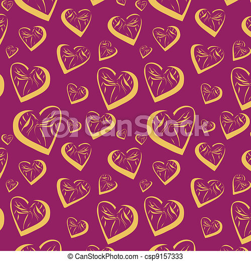 Seamless background with hearts - csp9157333