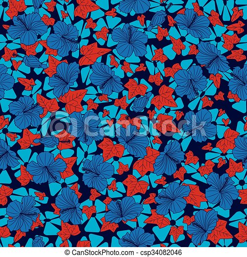 seamless background with hibiscus and ivy - csp34082046