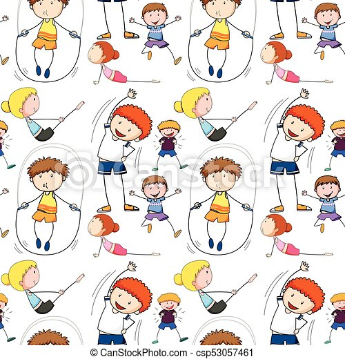Seamless background with kids doing exercise illustration.