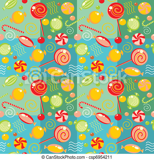 Seamless background with multi-coloured candy  - csp6954211
