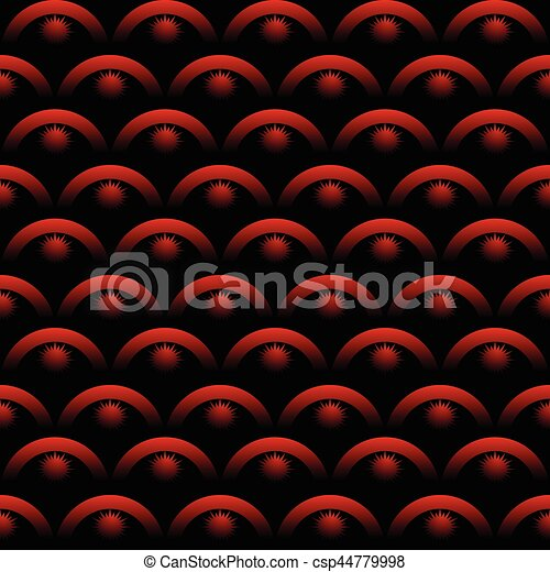 Seamless background with optical art elements in red color on black background. scale patterns with 3d gradient effect.