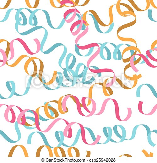 Seamless background with party streamers vector illustration - csp25942028