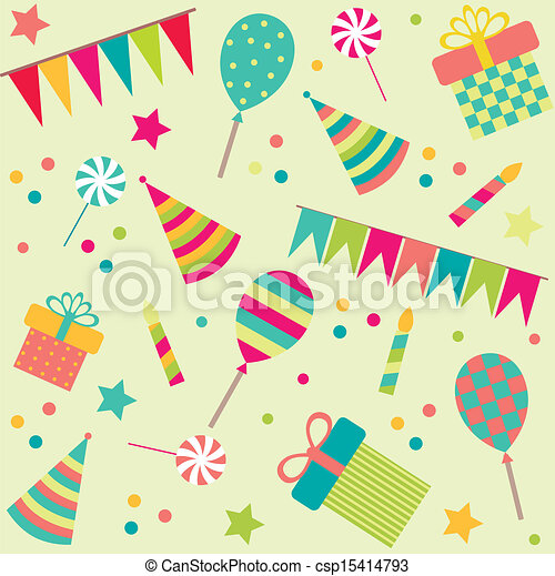 Seamless Background With Party Stuff Vector