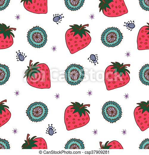 Seamless Background With Pink Strawberries Cute Vector Strawberry Interesting Strawberry Pattern