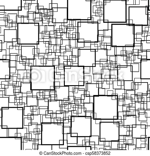 Seamless background with squares. Modern minimalistic style. One color black on white. Geometric pattern. - csp58373852