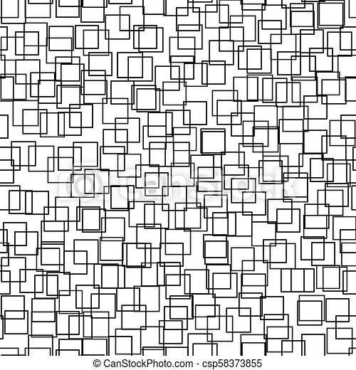 Seamless background with squares. Modern minimalistic style. One color black on white. Geometric pattern. - csp58373855