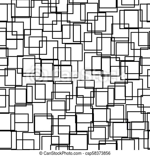 Seamless background with squares. Modern minimalistic style. One color black on white. Geometric pattern. - csp58373856