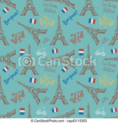 Seamless background with symbols of Paris - csp43115353