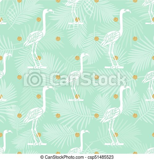 seamless bird with gold dot glitter pattern background - csp51485523
