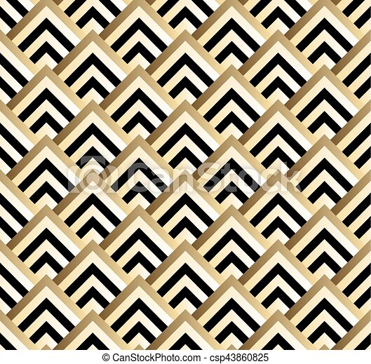 Seamless black and gold square art deco pattern vector vector ...