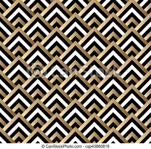 Seamless black and gold square art deco pattern vector vector clip ...