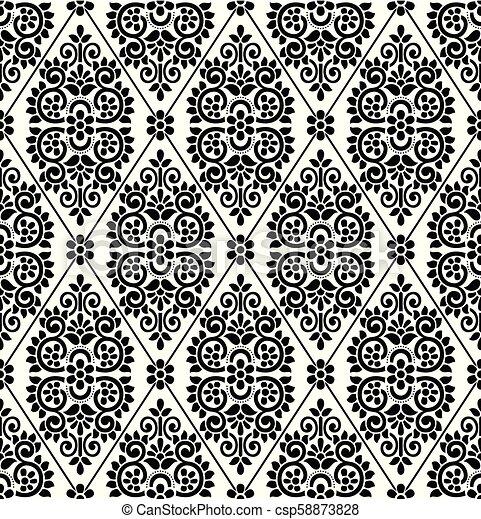 Seamless black and white damask wallpaper - csp58873828