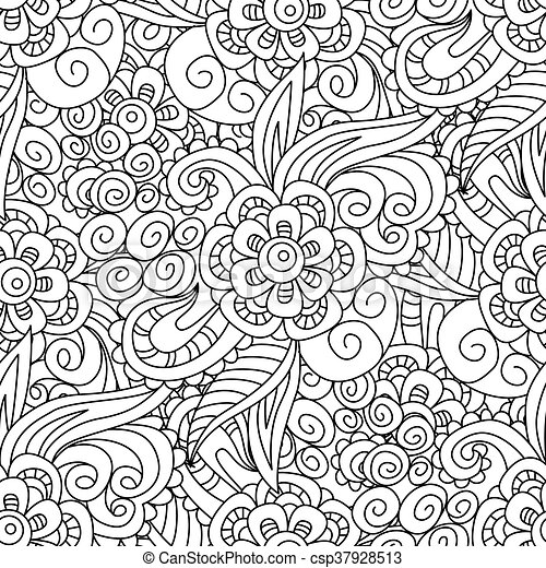 Seamless Black And White Floral Pattern Background Wallpaper Textile Cover Wrapper