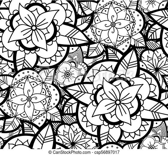 Seamless Black And White Flower Pattern