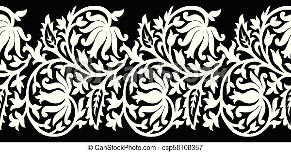Seamless Black And White Lotus Flower Border
