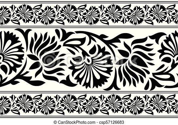 Seamless black and white lotus flower border seamless black and white lotus flower border csp57126683 mightylinksfo