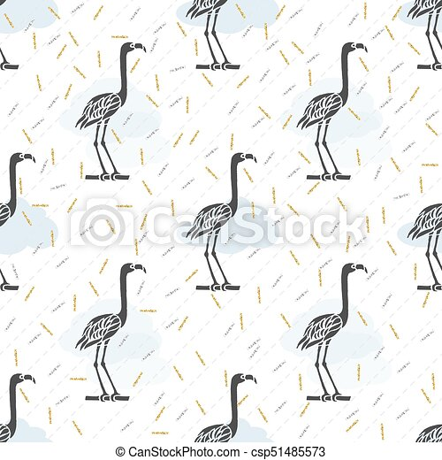 seamless black bird with silver and gold glitter pattern background - csp51485573