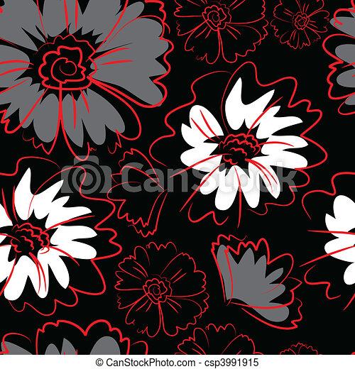 Seamless black floral pattern - csp3991915