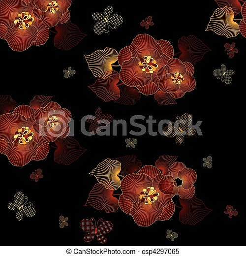 Seamless black floral pattern - csp4297065