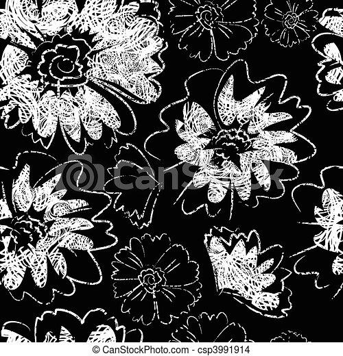 Seamless black floral pattern - csp3991914