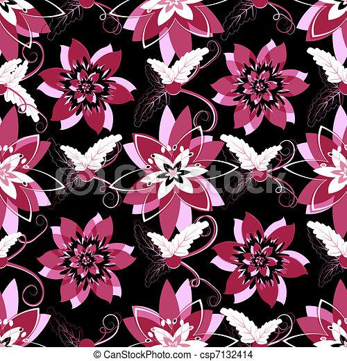 Seamless black floral pattern - csp7132414