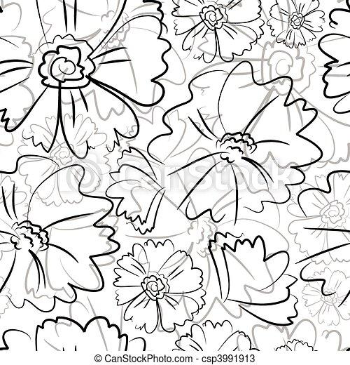 Seamless black floral pattern - csp3991913