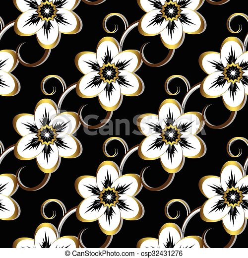 Seamless Black Floral Pattern - csp32431276